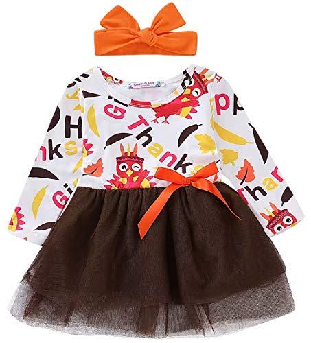 SUPEYA Baby Girls Thanksgiving Dress Princess Bowknot Tulle Tutu Dress with Headband White