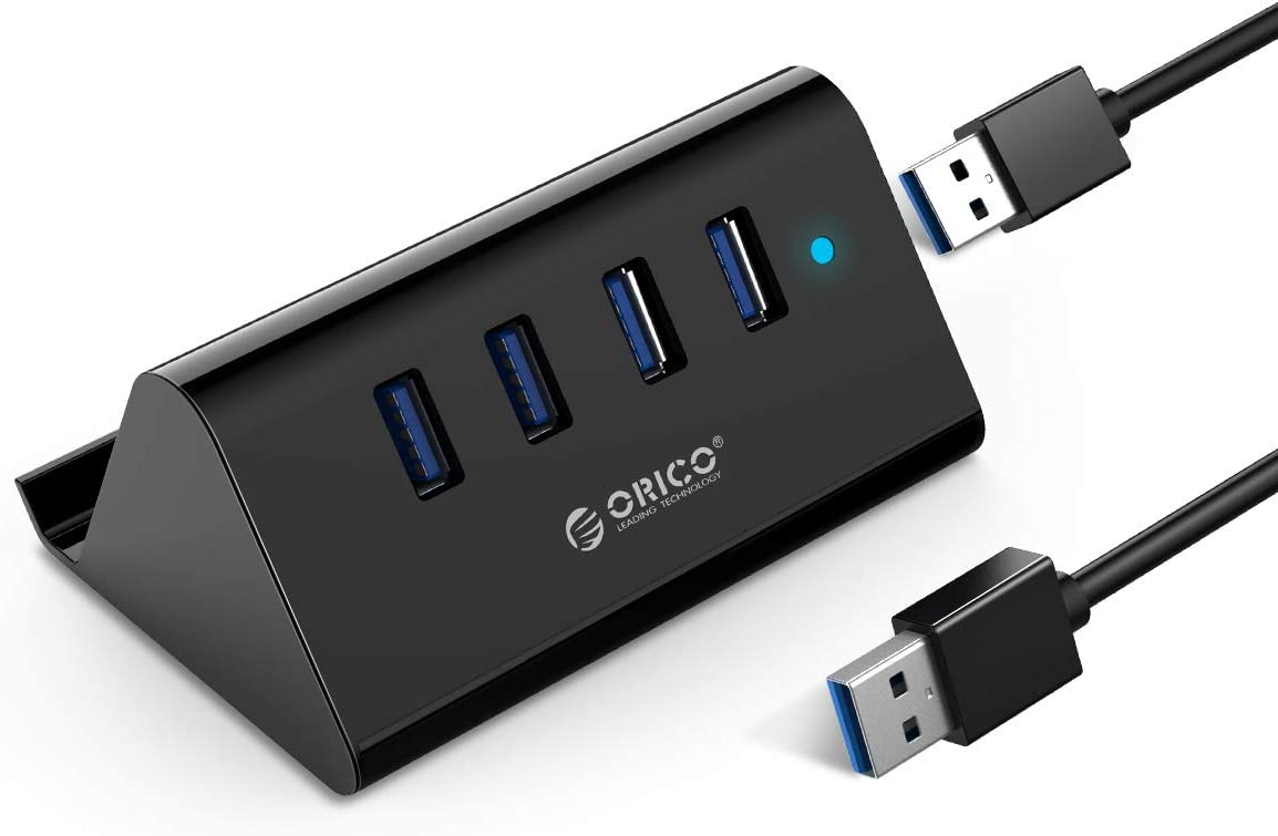 ORICO USB Hub, 4 Port USB 3.0 Portable Data Hub with 3.3FT USB Cable, Phone Stand Function for Laptop, Notebook, PC, MacBook, iMac, Surface Pro, Flash Drives, and Mobile HDD
