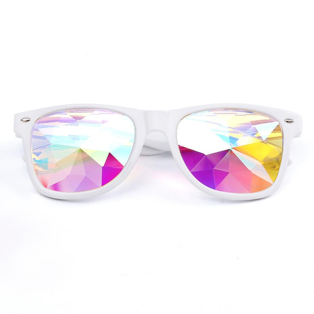 Chartsea Kaleidoscope Glasses Rave Festival Party EDM Sunglasses Diffracted Lens (White,B)