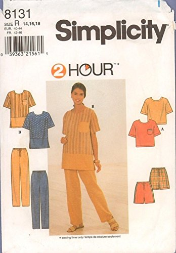 Simplicity 8131 Sewing Pattern for Misses 14-16-18 Banded Hem Tunic Top & T-top with Pants Shorts