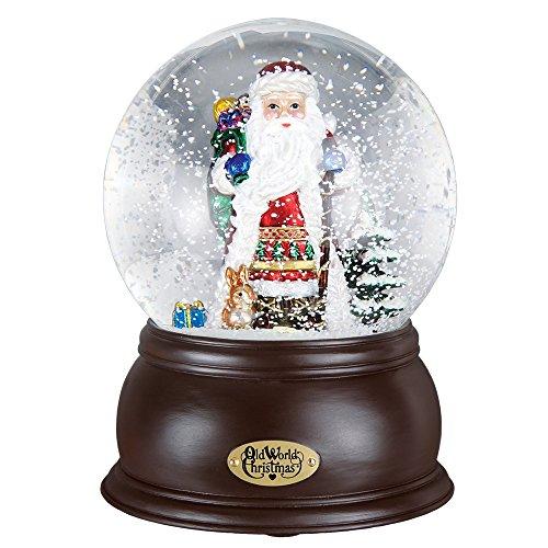 (Old World Christmas Fanciful Santa Glass Snow Globe Plays Jingle Bells)