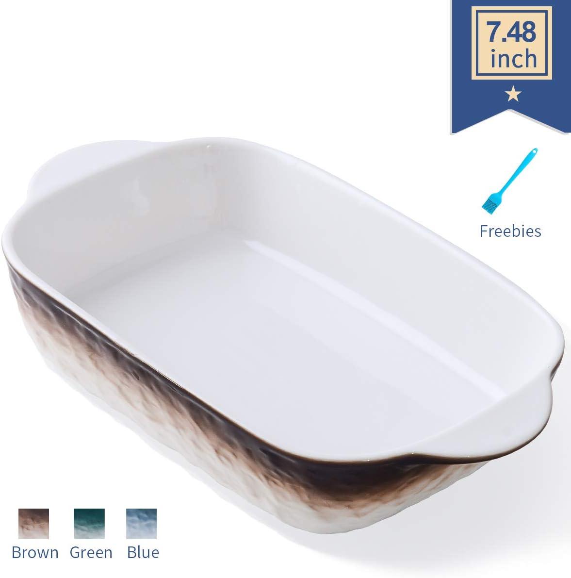 Ceramics Rectangular Casserole Dish, Baking Dishes with Handles for Oven, Ceramic Baking Pan, Lasagna Pan, Individual Bakeware 7.48x5.12 Inch, Brown