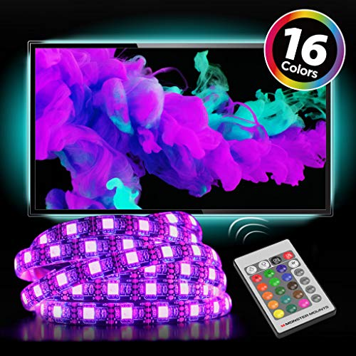 """Monster Mounts 16 Color LED TV Backlight Kit with 4 20"""" LED Strips and IR Remote Control for Home Theaters and ()"""