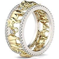 Vtg Gold Elephant 925 Silver 1.5Ct White Topaz Wedding Women Men Ring Size 6-10#by pimchanok shop (10, White Topaz)