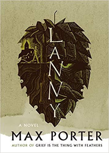 Lanny book cover featuring the word LANNY positioned vertically down the centre of an upside down leaf
