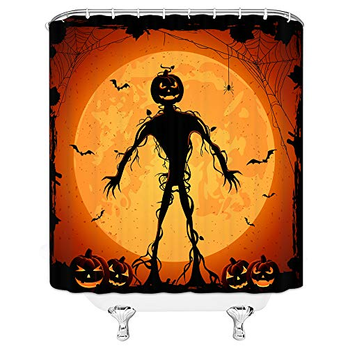 AMFD Halloween Shower Curtain Scary Pumpkin Man Under Moon Bathroom Decor Supplies Curtains Polyester Fabric Waterproof 70 x 70 Inches Include Hooks Golden Orange -
