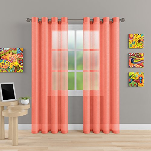 """Grommet Semi Sheer Luxury 2 Panels Total Width 108"""" (Each Curtain 54""""Wx63""""L) Window Home Decor and Upscale Design Light Penetrating & Privacy Soft Durable Polyester Easy Upkeep (Coral) (Two Curtain Color Panels)"""