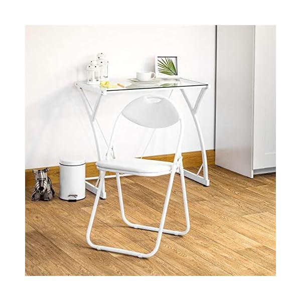 Chaise pliante rembourrée – pour le bureau – entièrement blanche – lot de 2