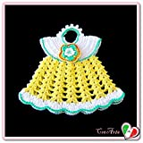 (US) Yellow and White crochet mini dress potholder in cotton - size: 7.6 inch x 6.5 inch H - Handmade - ITALY