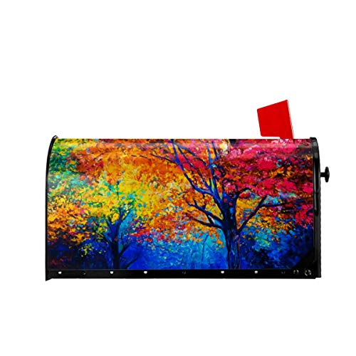Foruidea Autumn Fall Trees Mailbox Covers Magnetic Mailbox Wraps Patriotic Post Letter Box Cover Standard Oversize 21 X 18 Makover MailWrap Garden Home Decor (Wraps Covers Mailbox)