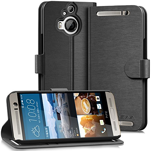 HTC One M9+ Wallet Case - VENA [vSuit] Draw Bench PU Leather Wallet Flip Cover with Stand and Card Slots for HTC One M9+ (Black)