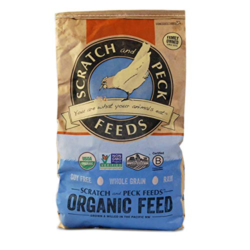 - Naturally Free Organic Grower Feed for Chickens and Ducks - 25-lbs - Non-GMO Project Verified, Soy Free and Corn Free - Scratch and Peck Feeds