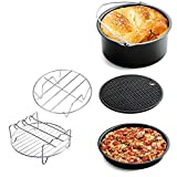 Air Fryer Accessories, Alotm 5Pcs Air Fryer Parts for Phillips Gowise Cozyna etc, Fits All 3.7QT-5.8QT, Complete Air Fryer Set with Cake Barrel, Pizza Pan, Silicone Mat, Skewer Rack, Metal Holder