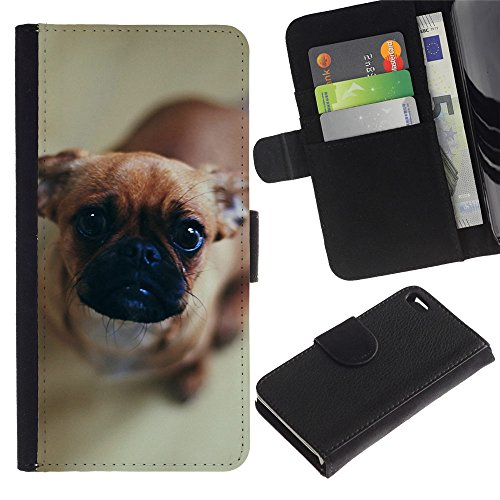 OMEGA Case / Apple Iphone 4 / 4S / pug puppy dog canine pet brown nose / Cuir PU Portefeuille Coverture Shell Armure Coque Coq Cas Etui Housse Case Cover Wallet Credit Card