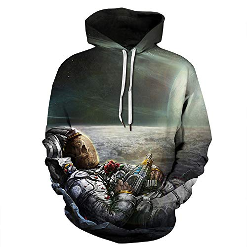 Men's Hoodie 3D Printed Skull Series Casual Long Sleeve Pocket Couple wear(Gray-csdstronaut,3XL) -