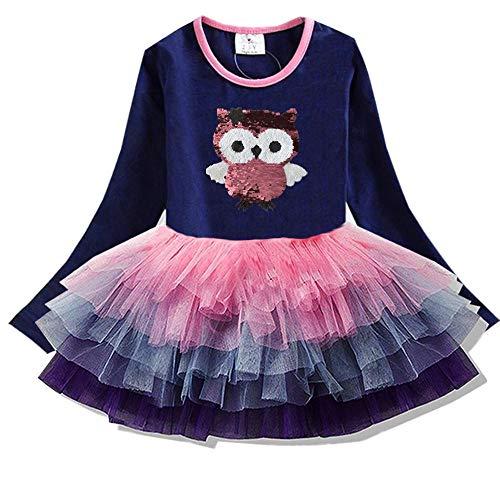 VIKITA Toddler Girl Long Sleeve Cute Owl Dress Baby Girls Winter Birthday (3T, LH4592) ()