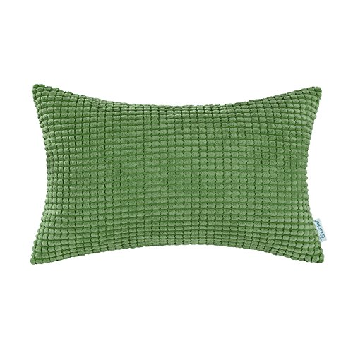 CaliTime Cozy Bolster Pillow Cover Case for Couch Sofa Bed Comfortable Supersoft Corduroy Corn Striped Both Sides 12 X 20 Inches Forest Green ()