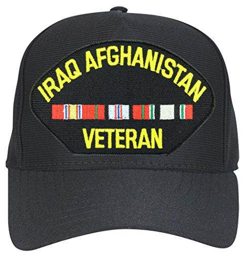 Ribbons Ball Cap - Iraq Afghanistan Veteran with Ribbons Black Ball Cap Hat