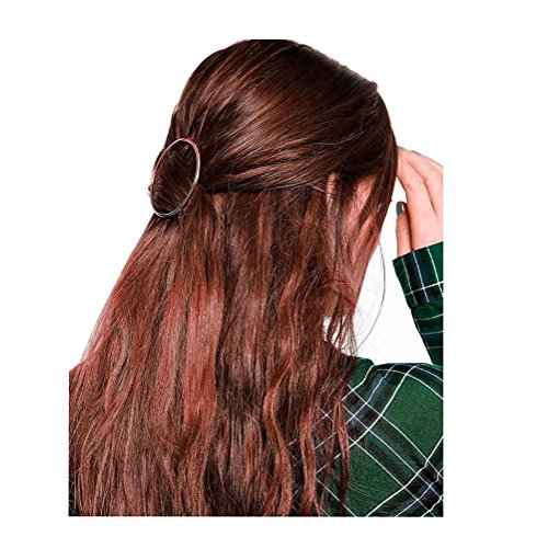 Fashion Women Girls Gold/Silver Plated Metal Round Bar Hair Clips Metal Circle Hairpins Holder Hair Accessories (rose gold) ()