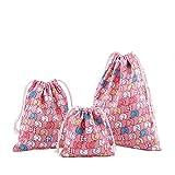 Amoyie 3 Pieces Nursery Organisers Bag Reusable Drawstring Bag for Toys Diaper, Party Gift Bag Medium (25x30cm) + Small (19x23cm) + Mini (15x16), Goodie Bags for Girls Boys, Baby Room Storage Bag