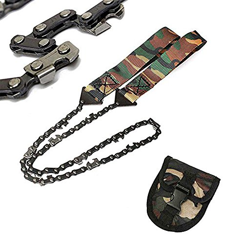 LATITOP Portable Lightweight Pocket Chain Saw Handsaw &Carrying Camo Pouch with Belt Loop