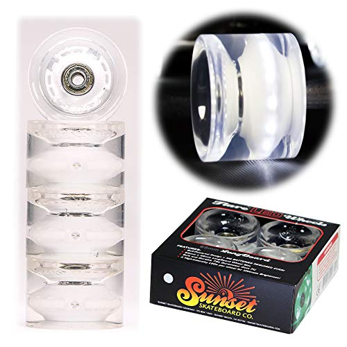 Sunset Skateboard Co. White 65mm 78a LED Light-Up Longboard Wheels (4-pack) with ABEC-9 Carbon Steel Bearings for Glow-In-The-Dark, All Ages & Skill Levels Skating Fun with No Batteries Required