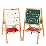 kids chalkboard - Arkmiido Kids Easel Double-Sided Whiteboard & Chalkboard Standing Easel with Bonus Magnetics, Numbers and Other Accessories for Kids and Tollders (52.4 inch)