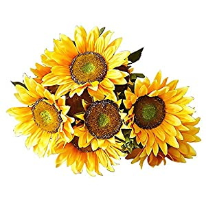 FightingFly Artificial Sunflower Flowers, 19.5″ Silk Fake Sunflowers, 13 Heads Floral Decor Bouquet Indoor Outdoor Wedding Home Office Decoration Festive Furnishing, Yellow