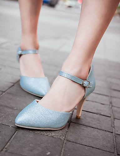 ShangYi Women's Shoes Stiletto Heel Pointed Toe Sandals Wedding/Office & Career Blue/Silver/Gold Silver fHBP8fpDr