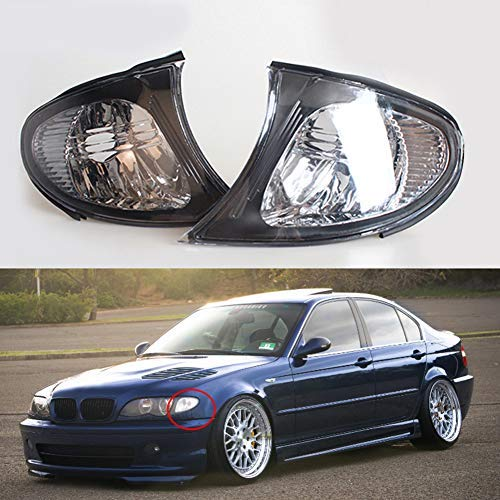 Bmw Lights Corner Pair - Clidr Turn Signal Corner Light Lamp Lens Replacement for BMW E46 3-Series 4DR 2002-2005 (Left and right)
