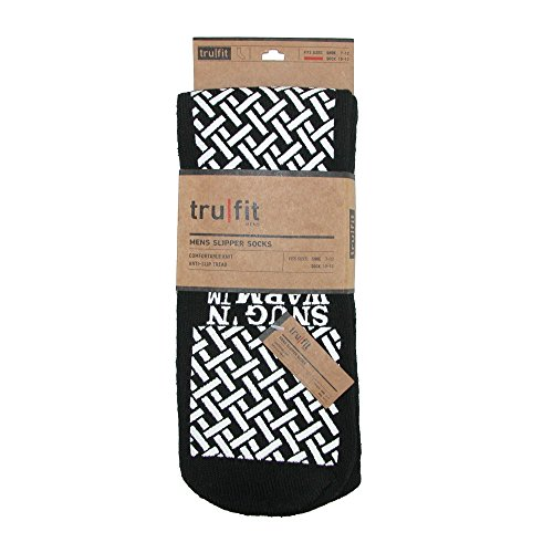 Pair Socks 3 Pack Gripper Black Slipper Soles Men's tru fit with TxZ77