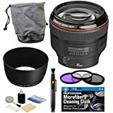 Canon EF 85mm f/1.2L II USM Autofocus Lens with USA Warranty + Pouch + Lens Hood + Filter Kit + Accessories Bundle