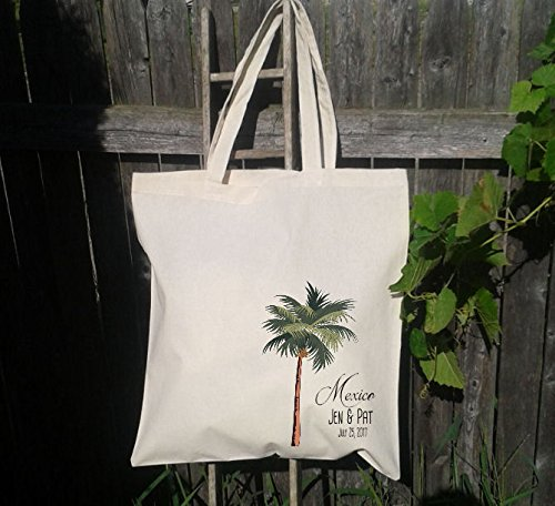 25 Palm Tree Tote Bag, Wedding Welcome Bag, Destination Wedding Bag by Who Doesn't Want That