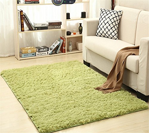 (FasterS Solid Rectangle Soft Cozy Shaggy Area Rug Fluffy Thick Carpet Floor Mat for Home Living Bedroom Kids grass green)