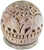 EASTER DAY DECORATIONS - SouvNear 4 Inch Assorted Soapstone Sculpture Votive / Candle / Tealight Holder - Floral/Elephant Decorative Tea Light Lantern