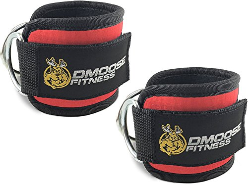 DMoose Fitness Ankle Straps for Cable Machines (Pair) - Stainless Steel Double D-Ring, Adjustable Comfort fit Neoprene, Glute & Leg Workouts - for Women & Men