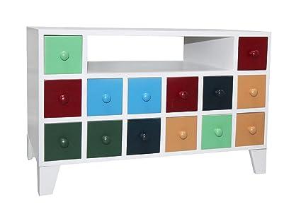 Banco Cajonera blanco brillante Mueble con cajones multicolores 14 y ...