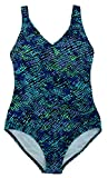 Speedo Womens Athletic Modest Coverage One Piece Swimsuit (6, Blue Scale)