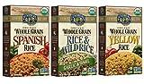 Lundberg Gluten-Free Whole Grain Vegan Brown Rice Mix 3 Flavor Variety Bundle: (1) Whole Grain Spanish Rice, (1) Whole Grain Garlic Basil Wild Rice Blend, and (1) Whole Grain Yellow Rice, 6 Oz. Ea.