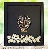 Monogram Drop Box Guest Book Frame - Wedding Guest Book Frame - Vine Monogram - Initials shaped drop heart - Shadow Box