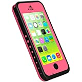 iPhone 5c Case, iThrough Waterproof, Dust Proof, Snow Proof, Shock Proof Case with Touched Transparent Screen Protector, Heavy Duty Protective Carrying Cover Case includes a 3.5mm AUX Cable for iPhone 5c (Pink)