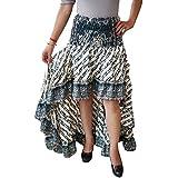 Womens Silk Sari Skirt Green Upecycled Cherished Flare Ruffle Skirts S/M