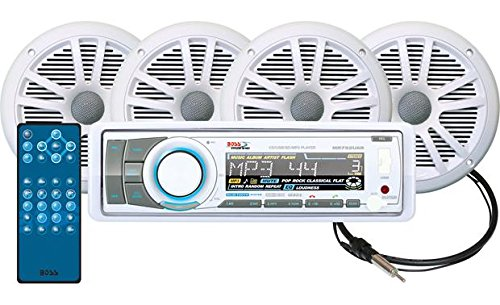 BOSS AUDIO MCK752WB.64 Marine Package Includes MR752UAB Single-DIN Marine AM/FM CD Bluetooth Receiver with App Control, Two Pair 6.5 inch MR6W Marine Speakers, MRANT10 Marine Antenna (Marine Stereo System Package compare prices)