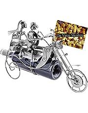 BRUBAKER Flessenhouder paar op motorfiets metalen sculptuur cadeau met cadeaukaart