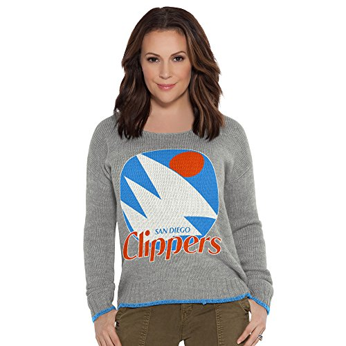 (Touch by Alyssa Milano NBA San Diego Clippers Adult Women All Laced Up Sweater, Small, Heather Grey)