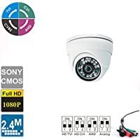 Ezdiyworld-2.4MP Sony 1/2.7 CMOS 4-in-1 Dome Indoor CCTV Security Camera TVI + CVI + AHD + Analog Signal 1080p (1920x1080) Sensor with IR-CUT 24IR LED Night Vision 2.8mm Lens