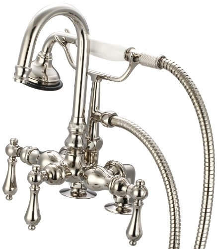 Water Creation F6-0013-05-AL Vintage Classic 3-3/8-Inch Center Deck Mount Tub Faucet with Gooseneck Spout, 2-Inch Risers and Handheld Shower