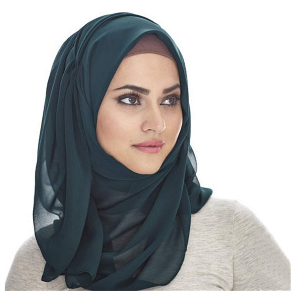 Coco-Z 2019 comf Scarfs Solid Color Head Scarf Pearl Hijab Lightweight Fashion Hair Scarf Green