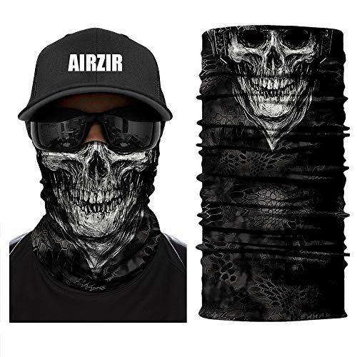 Airzir Skull Face Mask Premium Breathable Seamless Tube Motorcycle Face Mask Wind Dust UV Protection Moisture Wicking Microfiber Face Mask for Motorcycle Riding Cycling Hiking Climbing (Skull-684)