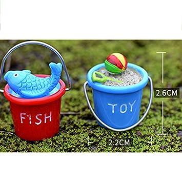 2.6cm Phononey 3X Miniature D/écoration Plage Seau Paysage Mousse Mini Ornement Sculptures pour Pots De Fleurs Cour Dollhouse Bricolage Maison Bureau Maisons Couleur Al/éatoire 2.2